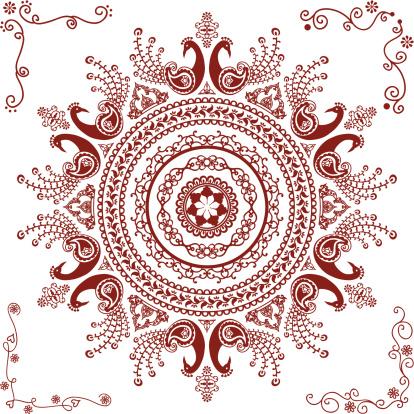 Mehndi Peacock Circle Design