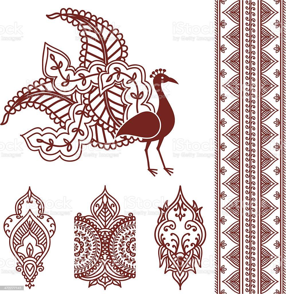 Mehndi Peacock vector art illustration