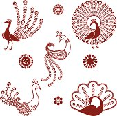 A collection of stylized peacocks inspired by the art of mehndi (henna painting).