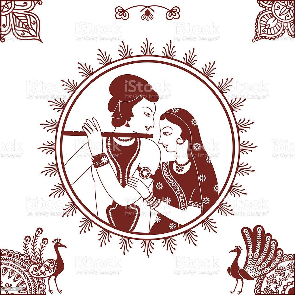 Mehndi Radha Krishna vector art illustration