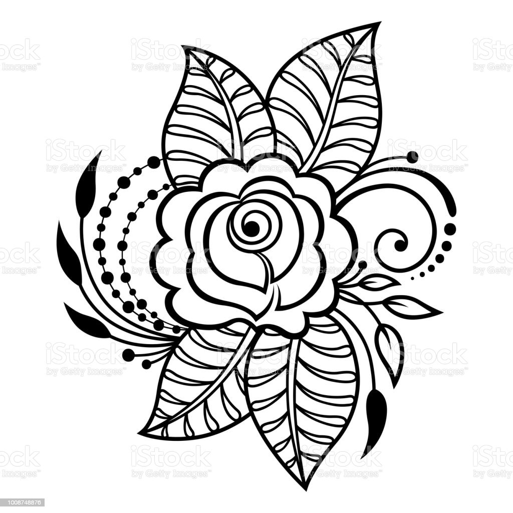 Vetores De Mehndi Rosa Flor Padrao Para Desenho De Henna E