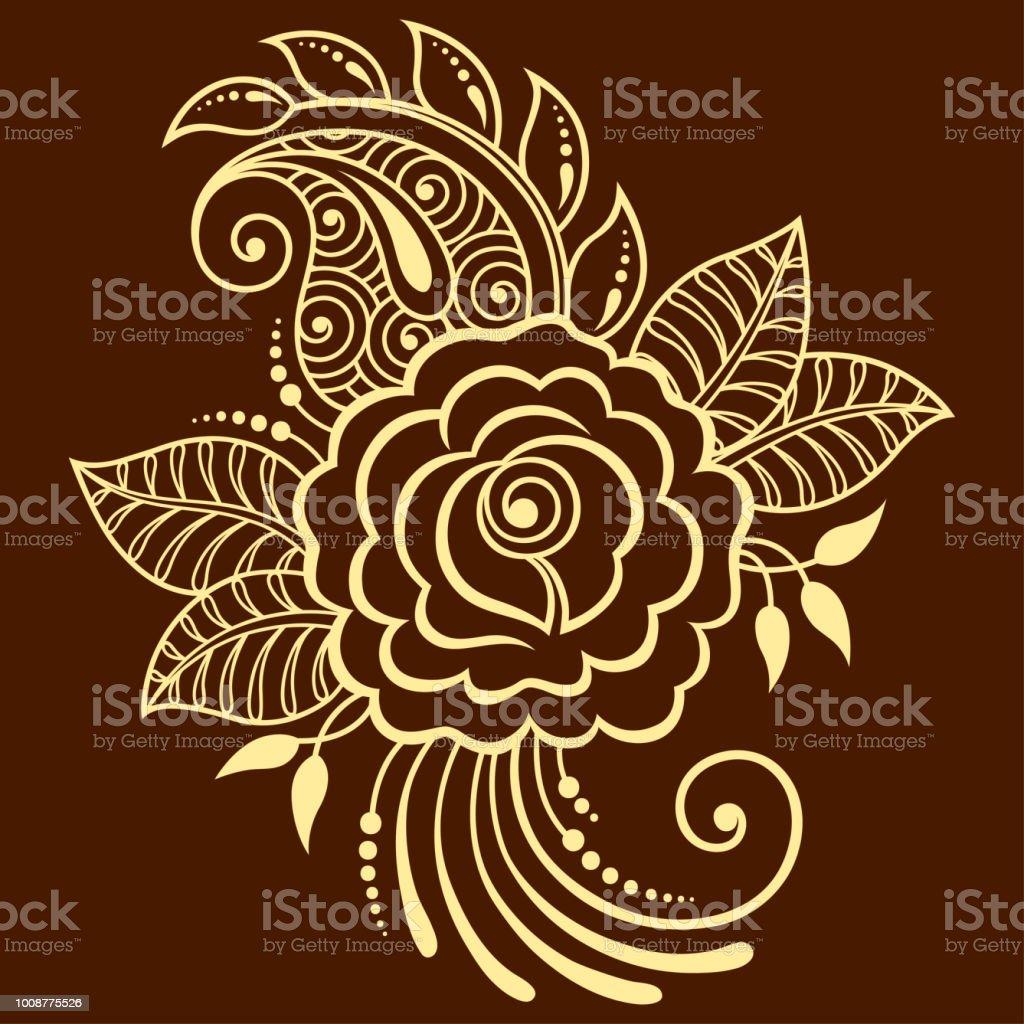 Motif De Fleurs Mehndi Rosa Pour Le Dessin De Henne Et De Tatouage