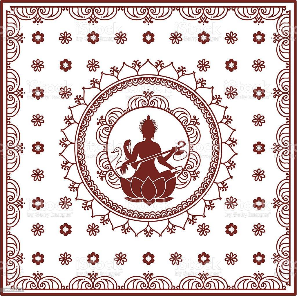 Mehndi Sarasvati Bedspread vector art illustration