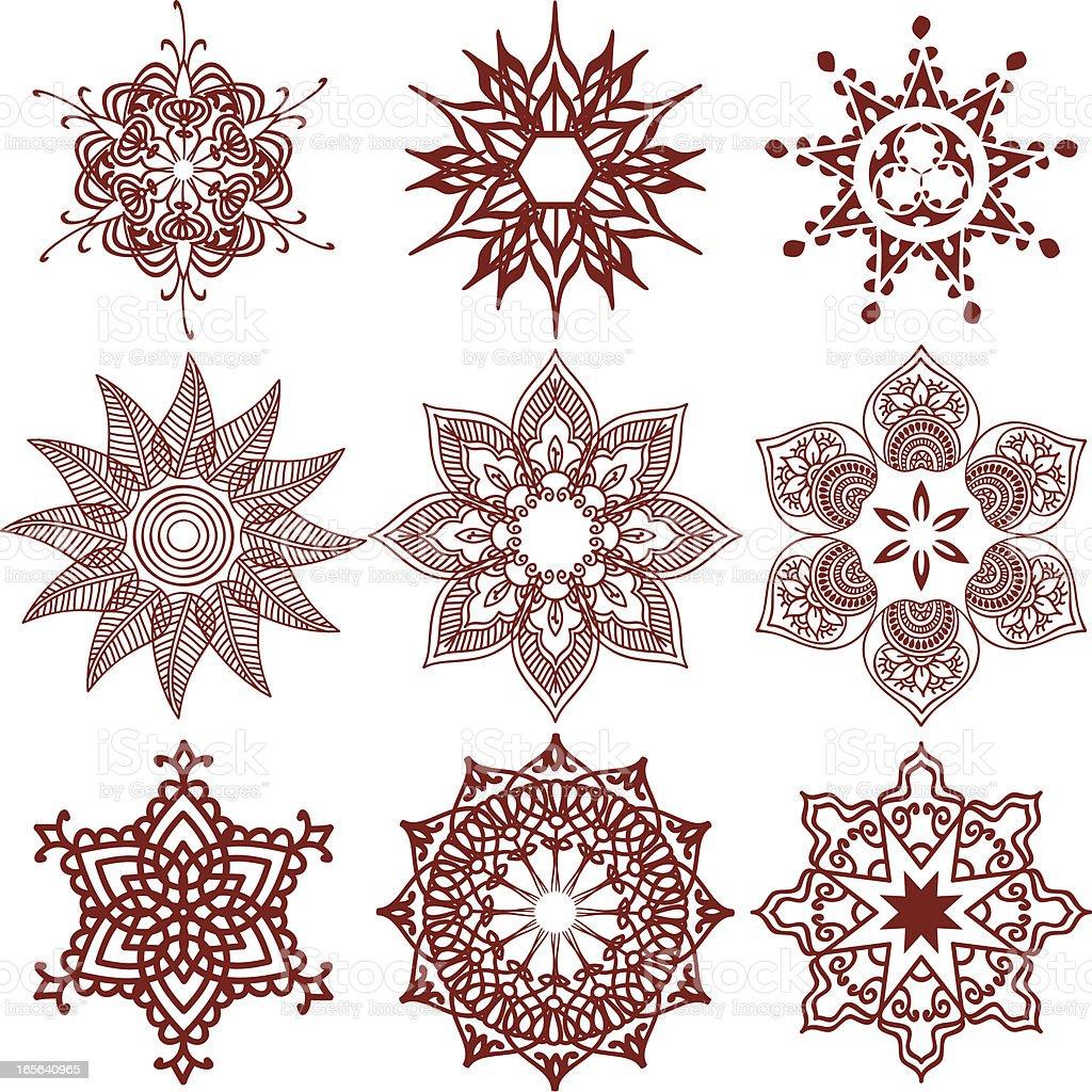 mehndi snowflakes stock vector art 165640965 istock
