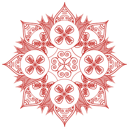 Mehndi style symmetrical  flower shape in red and white
