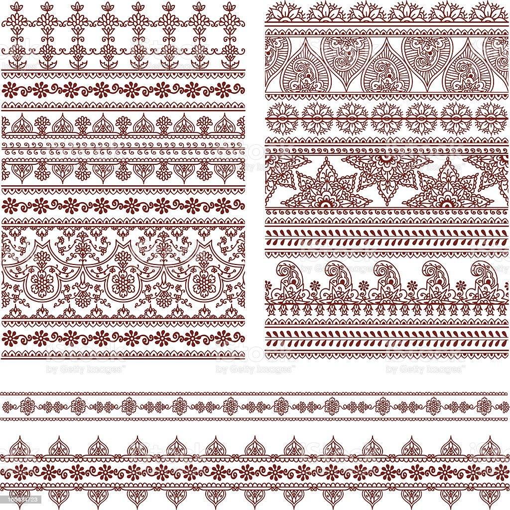 Mehndi Tall Borders vector art illustration
