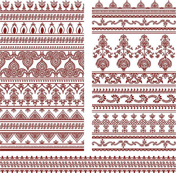 stockillustraties, clipart, cartoons en iconen met mehndi tall borders - hennatatoeage