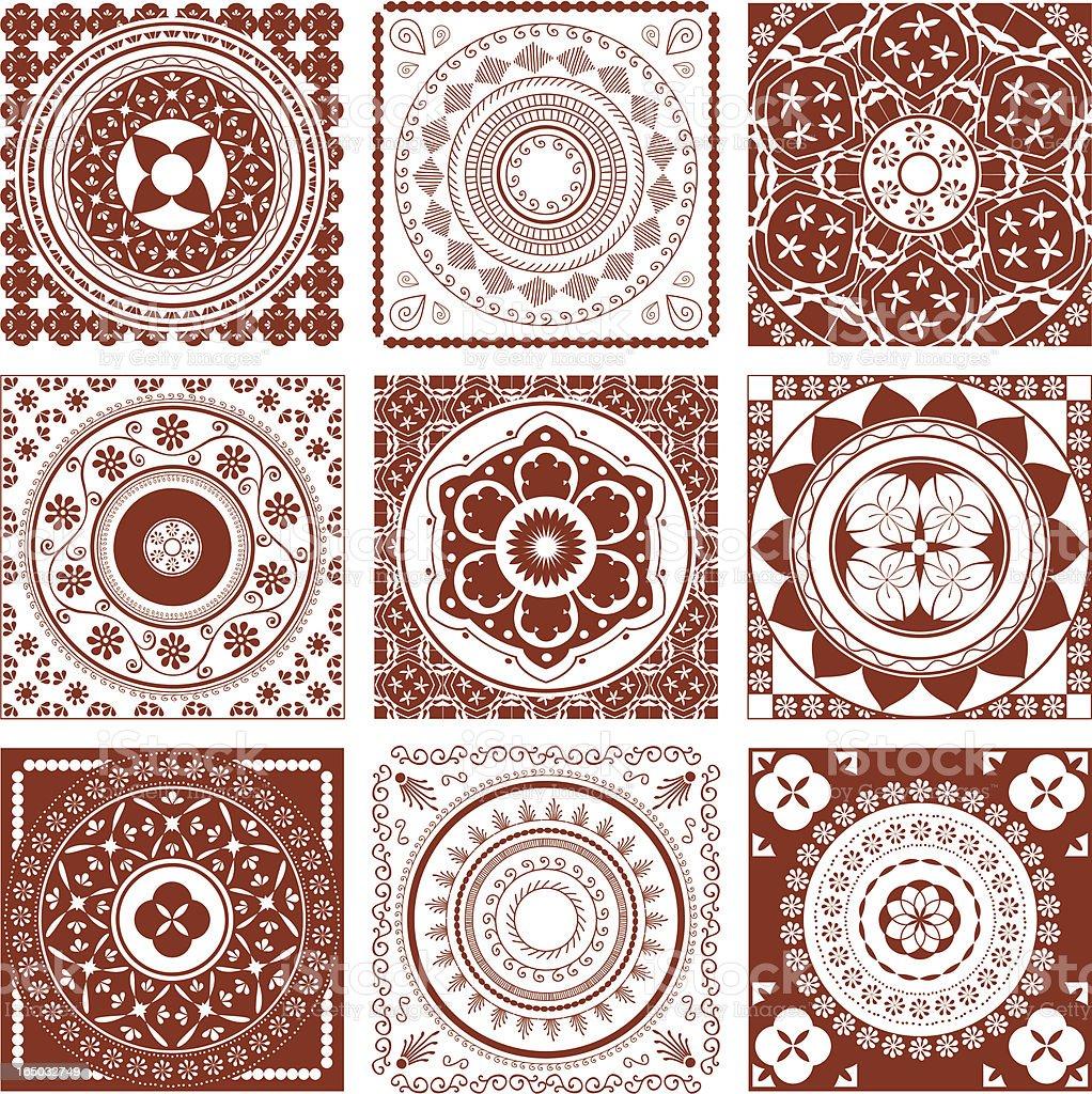 Mehndi Tiles (Vector) royalty-free stock vector art
