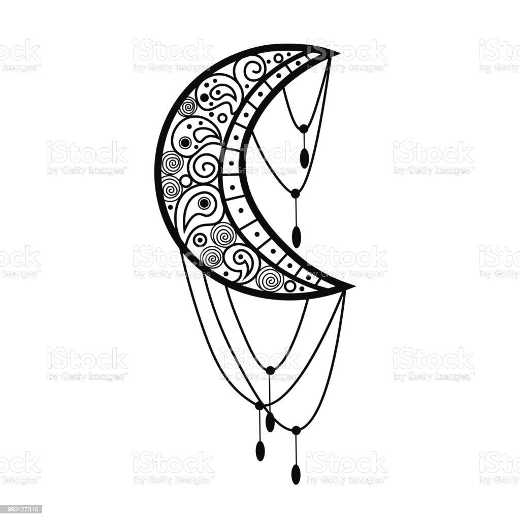 Ilustración de Mehndi Indio étnico Símbolo Tradicional Con La Luna ...