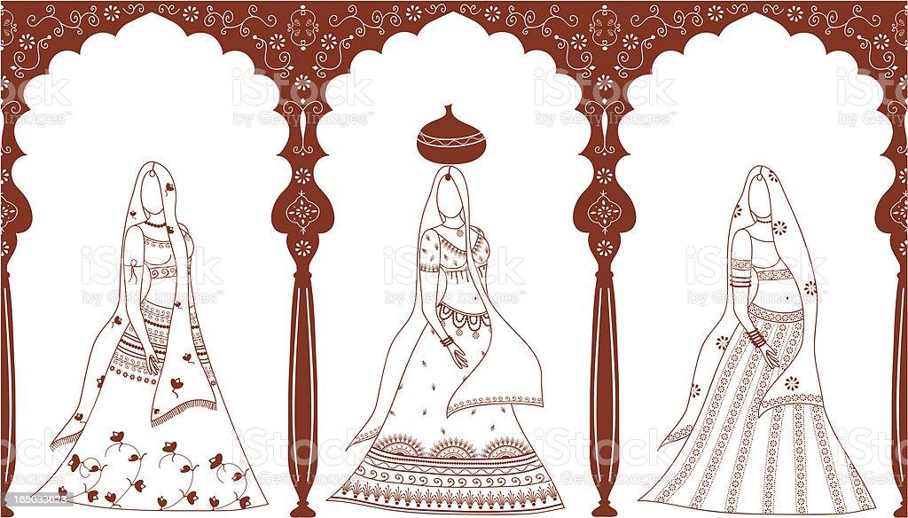 Mehndi Women (Vector) vector art illustration