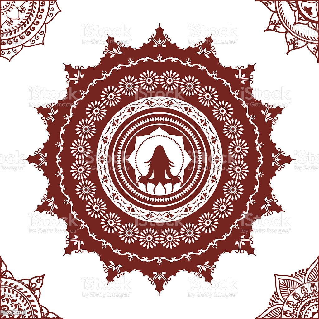 Mehndi Yoga Mandala vector art illustration