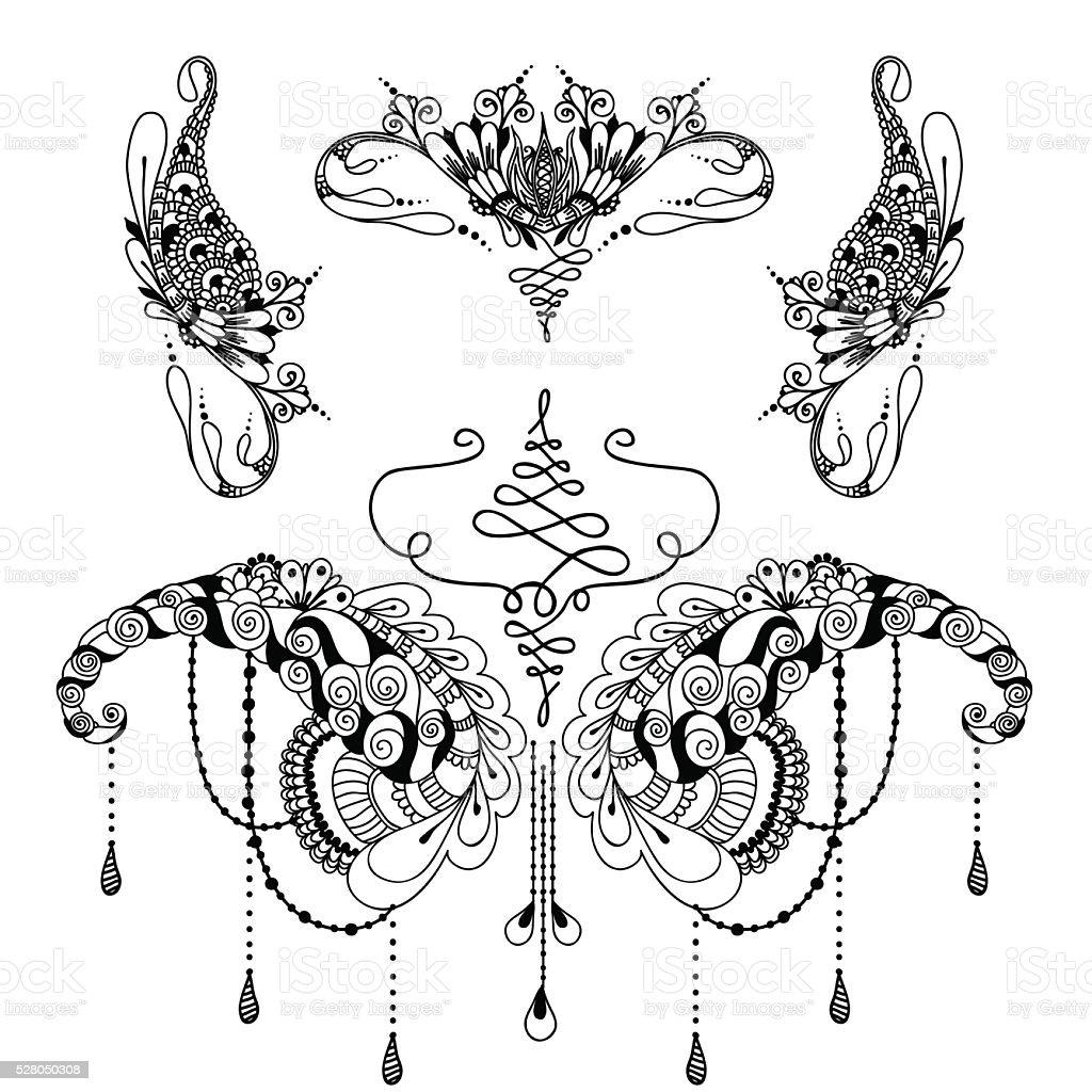 Mehndy Blumen Tattoovorlage Stock Vektor Art Und Mehr Bilder Von