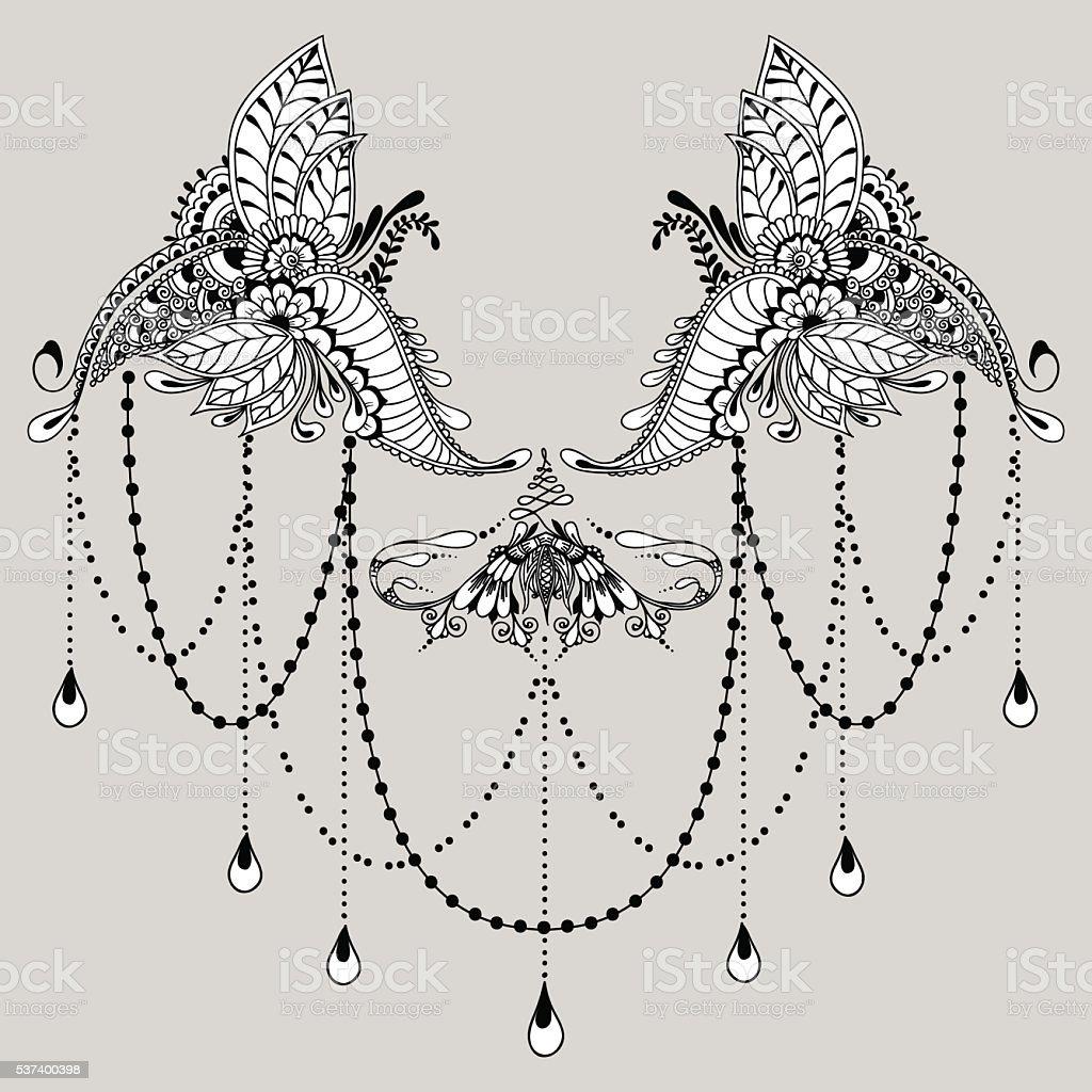 mehndy blumen tattoovorlage stock vektor art und mehr. Black Bedroom Furniture Sets. Home Design Ideas