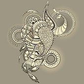 Mehndy peacock tattoo