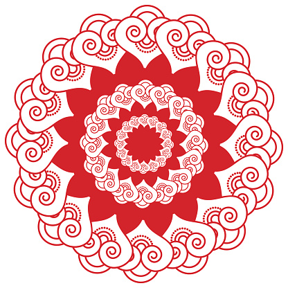 Mehni style centrally located symmetrical heart shapes