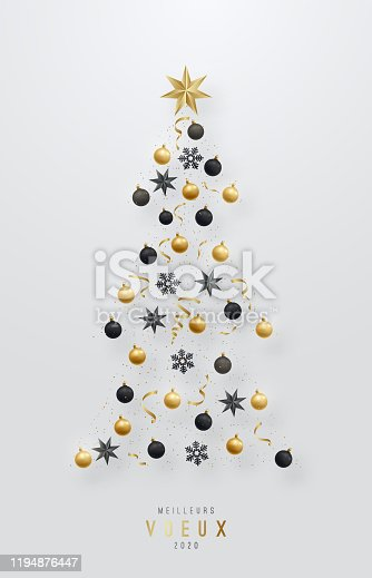 istock Meilleurs Voeux - Best Wishes. Christmas Tree made of stars, black and gold realistic baubles and confetti. Vector template for greeting card, flyer, poster and invitation. Shiny Christmas volume toys. 1194876447