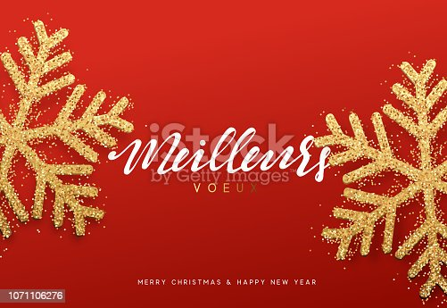 istock Meilleurs voeux Joyeux Noel. Xmas background with shining golden snowflakes. 1071106276