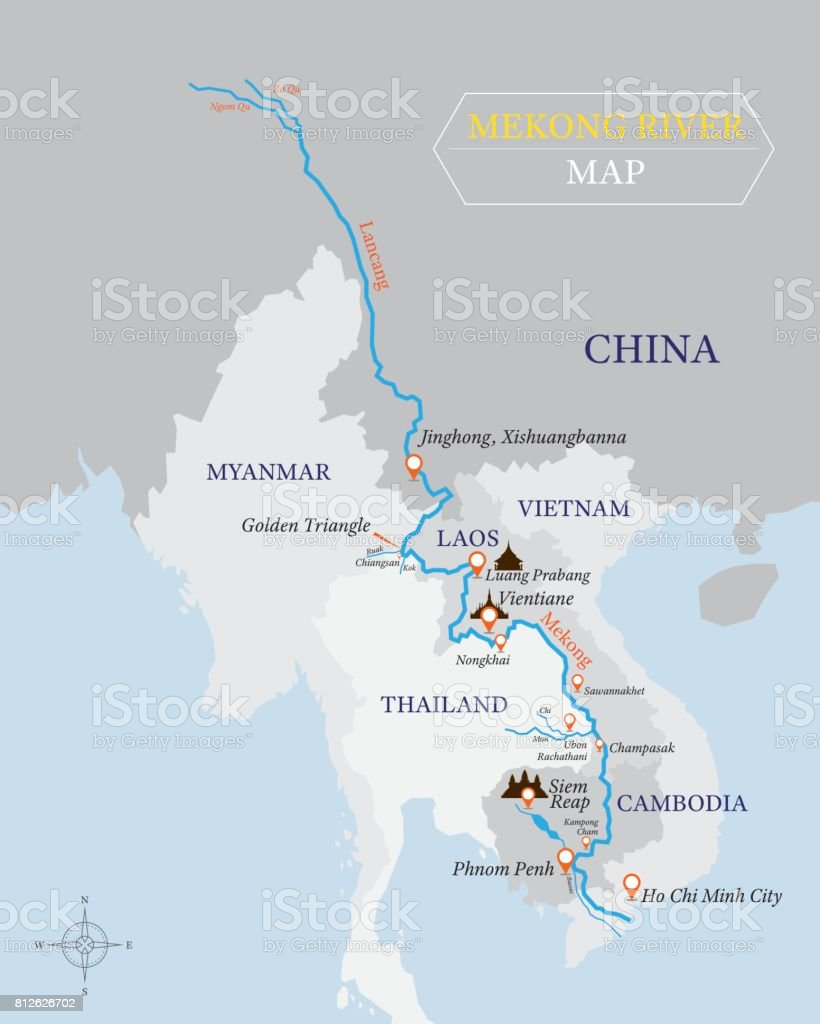 Rio Mekong Mapa Fisico.Vetores De Mapa Do Rio Mekong Com Pais E Localizacao Da