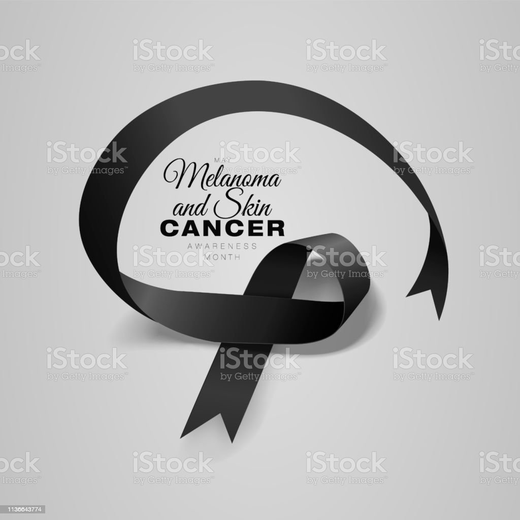 Melanoma And Skin Cancer Awareness Calligraphy Poster Design Realistic Black Ribbon May Is Cancer Awareness Month Vector Stock Illustration Download Image Now Istock