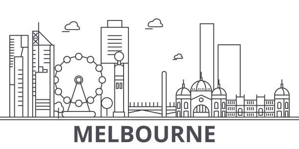 melbourne architecture line skyline illustration. linear vector cityscape with famous landmarks, city sights, design icons. landscape wtih editable strokes - melbourne stock illustrations