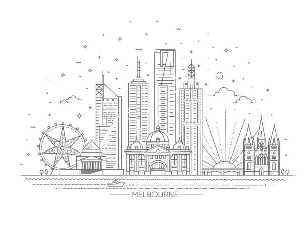 melbourne australia city skyline on white background. vector illustration - melbourne stock illustrations