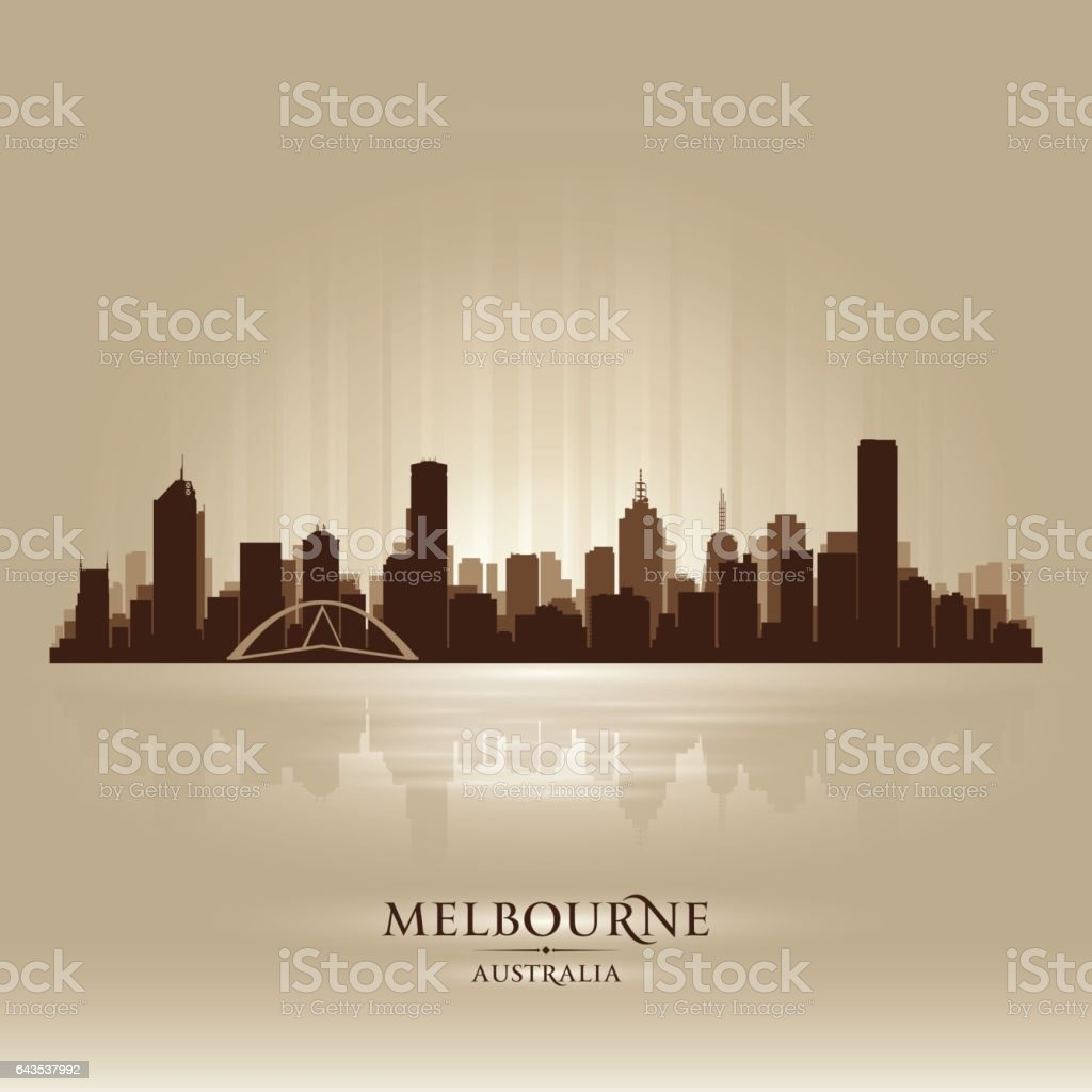 Melbourne Australia city skyline silhouette vector art illustration