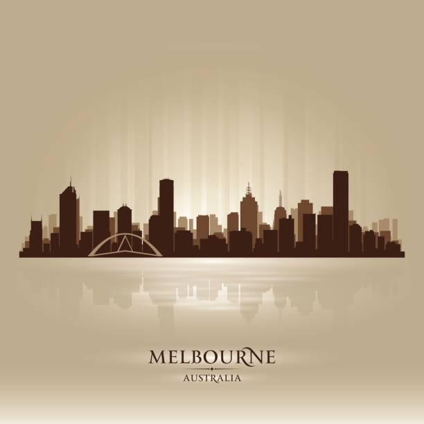 melbourne australia city skyline silhouette - melbourne stock illustrations