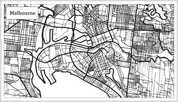 melbourne australia map in black and white color. - melbourne stock illustrations