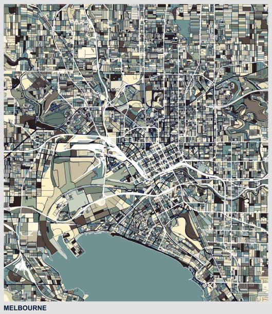 melbourne city art map background - melbourne stock illustrations