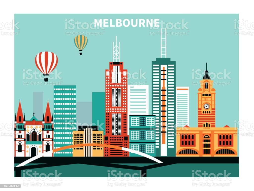 Melbourne city  Australia. vector art illustration