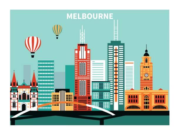 melbourne city  australia. - melbourne stock illustrations