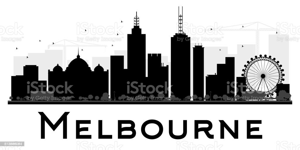 Melbourne City skyline black and white silhouette. vector art illustration