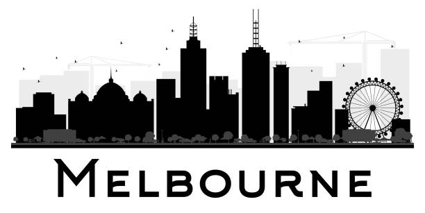 melbourne city skyline black and white silhouette. - melbourne stock illustrations