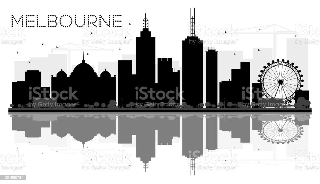 Melbourne City skyline black and white silhouette with reflections. vector art illustration