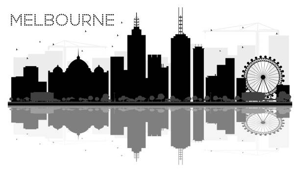 melbourne city skyline black and white silhouette with reflections. - melbourne stock illustrations