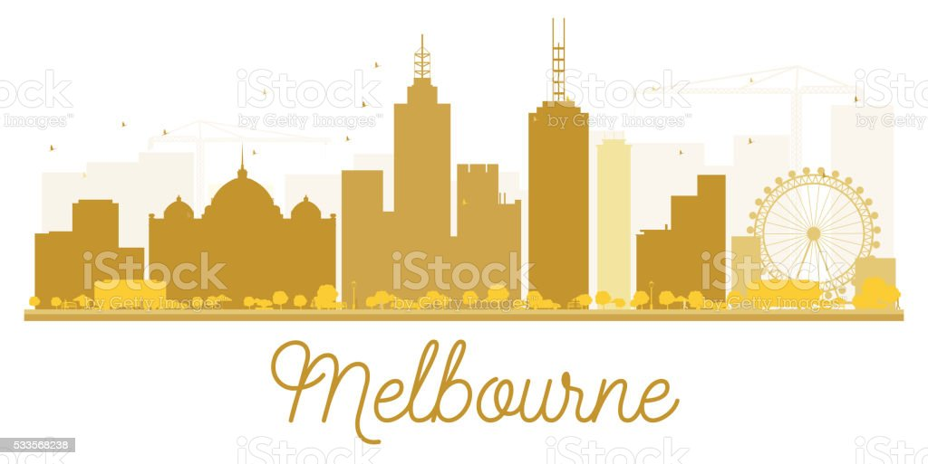 Melbourne City skyline golden silhouette. vector art illustration