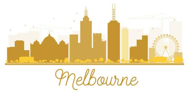 melbourne city skyline golden silhouette. - melbourne stock illustrations