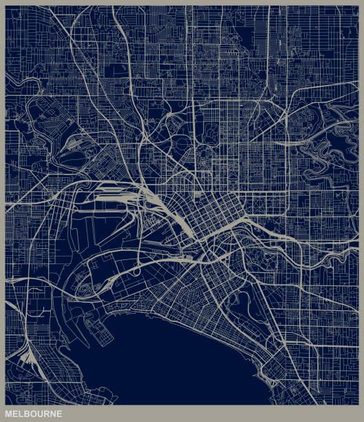 melbourne city structure map - предельно крупный план stock illustrations