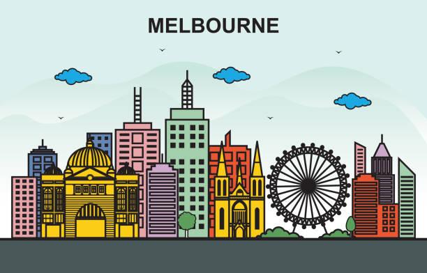 melbourne city tour cityscape skyline colorful illustration - melbourne stock illustrations