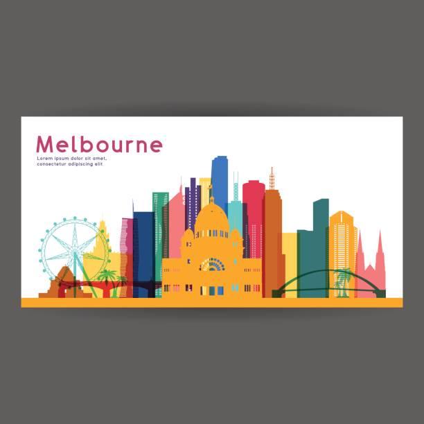 melbourne colorful architecture vector illustration, skyline city silhouette, skyscraper, flat design. - melbourne stock illustrations