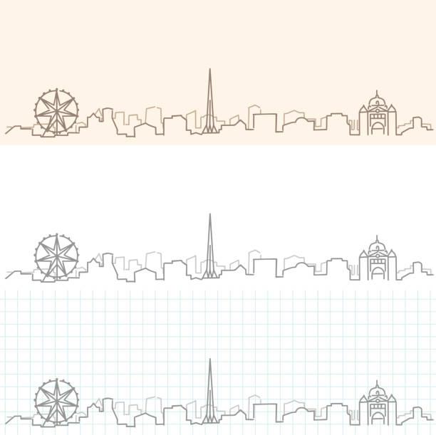 melbourne hand drawn skyline - melbourne stock illustrations