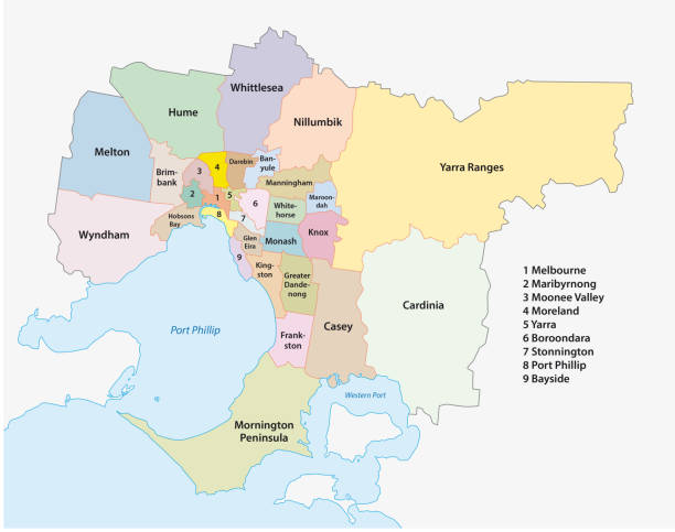 melbourne metro area administrative map - melbourne stock illustrations