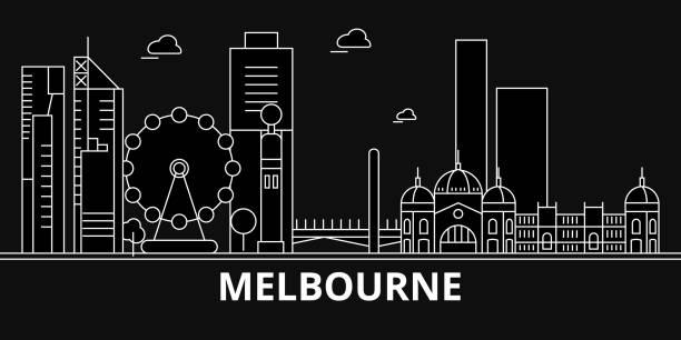 melbourne silhouette skyline. australia - melbourne vector city, australian linear architecture, buildings. melbourne travel illustration, outline landmarks. australia flat icon, australian line - melbourne stock illustrations