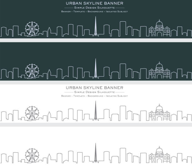 melbourne single line skyline banner - melbourne stock illustrations