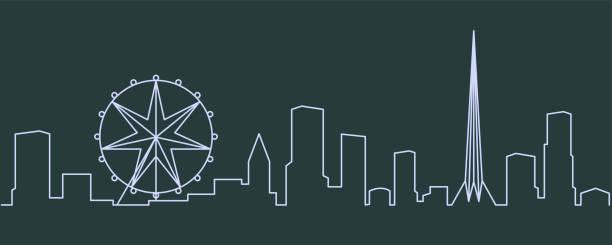 melbourne single line skyline - melbourne stock illustrations