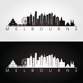 Melbourne skyline and landmarks silhouette, black and white design, vector illustration.