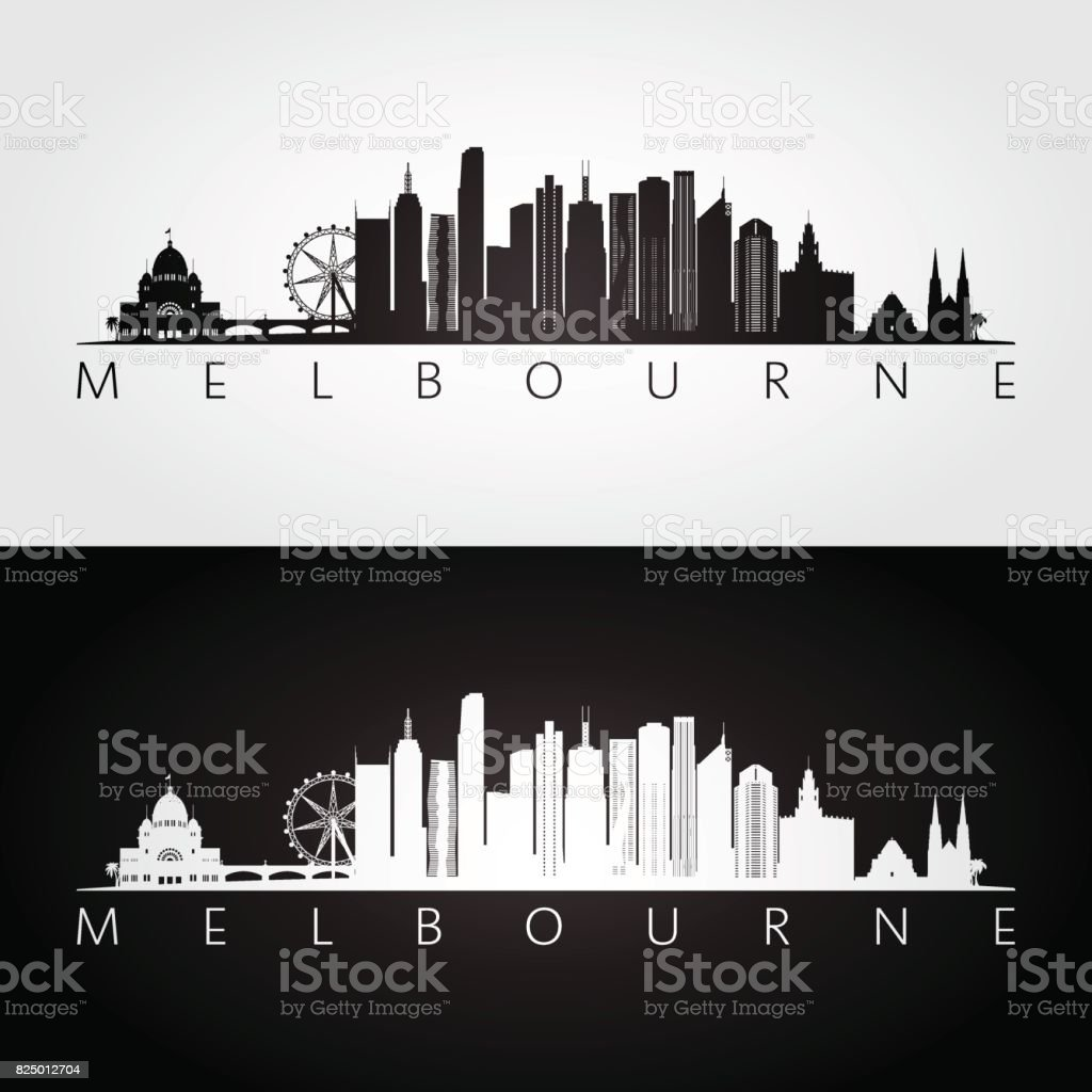 Melbourne skyline and landmarks silhouette, black and white design, vector illustration. vector art illustration