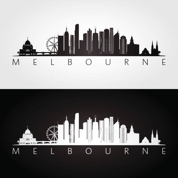 melbourne skyline and landmarks silhouette, black and white design, vector illustration. - melbourne stock illustrations