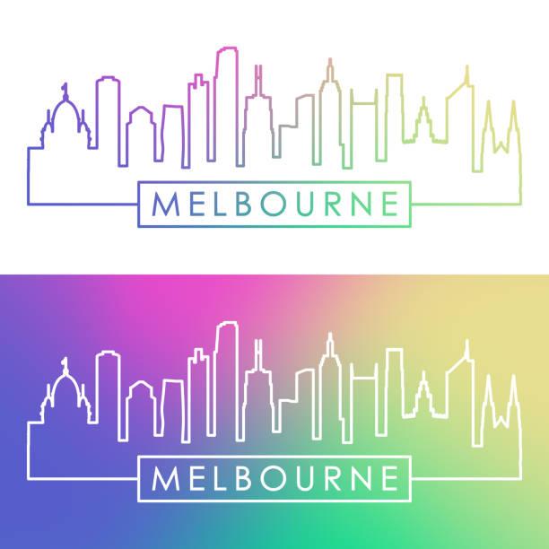 melbourne skyline. colorful linear style. editable vector file. - melbourne stock illustrations