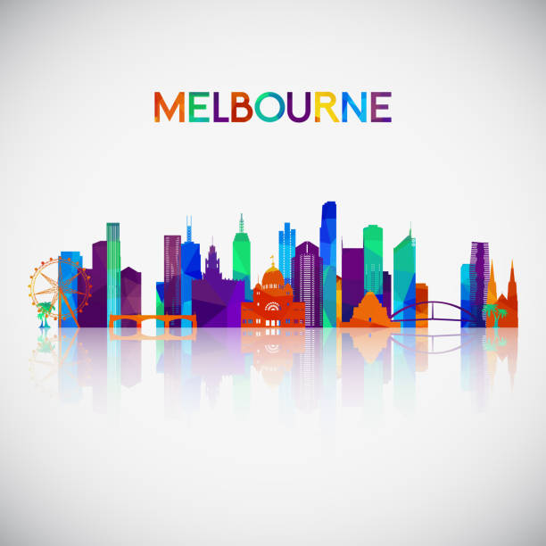 melbourne skyline silhouette in colorful geometric style. symbol for your design. vector illustration. - melbourne stock illustrations